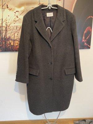 Grauer Mantel Materialmix Wolle Kaschmir