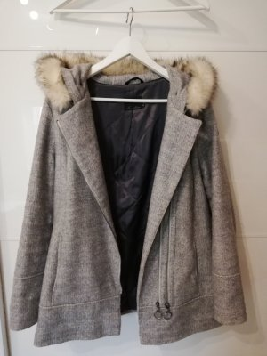 Fussl Hooded Coat silver-colored wool