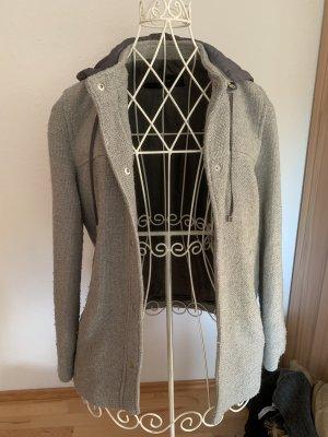 Zara Manteau à capuche gris clair-gris
