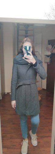 Zara Basic Cappotto con cappuccio grigio scuro