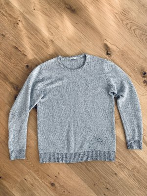 Selected Pull long gris clair-noir coton
