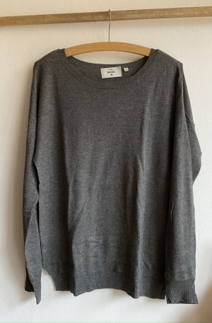 Grauer oversized Basic-Pullover in S