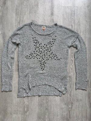 Only Gehaakte trui lichtgrijs-grijs