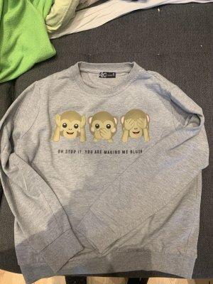 Grauer Pullover mit Affen Emojis
