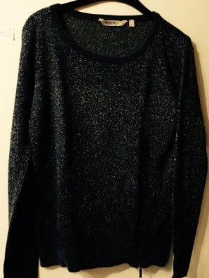 Grauer Pullover mit metallisiertem Garn