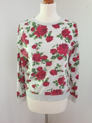 Grauer Pullover mit Rosenprint