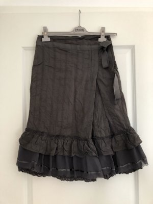 Mango Falda de encaje gris oscuro