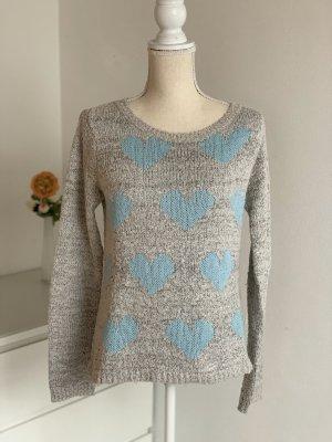 Grauer Strick-Pullover