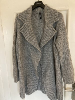 Marc Cain Knitted Coat silver-colored wool