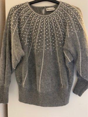 Grauer Vintage-Pullover mit Perlen-Details