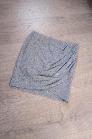 Grauer Wickelrock Jersey Stretch Minirock Highwaistrock Pencilskirt figurbetont gerafft gewickelt asymmetrisch wrapped