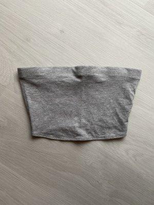 H&M Top z dekoltem typu bandeau jasnoszary-szary