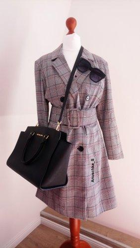 Graues Blazerkleid Tuxedodress kariert classy british tailliert Minikleid Langarm Longblazer