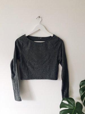 Cropped shirt donkergrijs-antraciet
