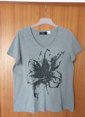 Graues Damen T-Shirt mit Blume und Steinchen Größe 44/46
