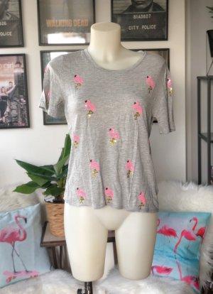 Graues H&M Flamingo Pailetten Shirt S