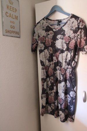 graues Kleid mit Rosenmuster von Rainbow in Gr. XS