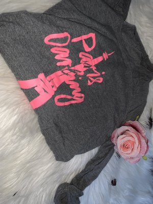 Maglione a maniche corte grigio-rosa