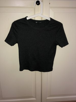 Zara Cropped shirt donkergrijs