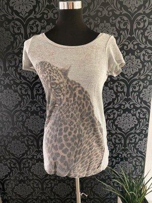 Graues Shirt mit Leo Aufdruck von Vero Moda, Gr. XS