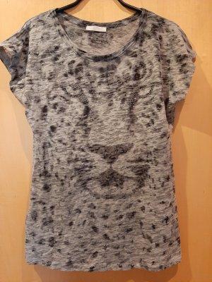 Graues Shirt mit Löwengesicht von Promod Gr. 40