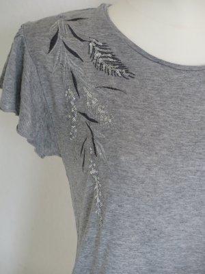 graues Shirt mit Stickerei Gr. S von Promod
