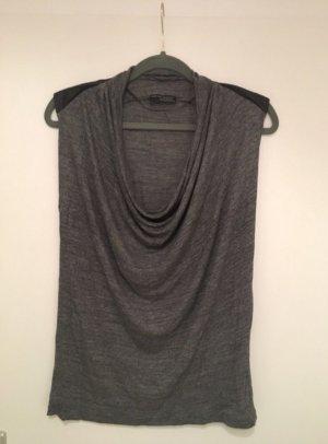 Graues Shirt von Zara mit Wasserfallkragen und Lederdetails