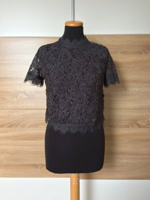 Graues Spitzen Stickerei Blumen Shirt, Bluse von Zara, Gr. S