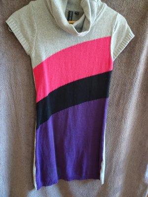 graues strickkleid mit farbigen streifen in gr.34