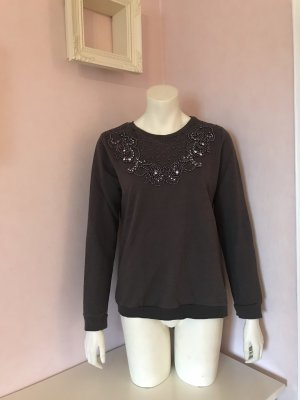 Graues Sweatshirt mit besetzten Perlen von H&M