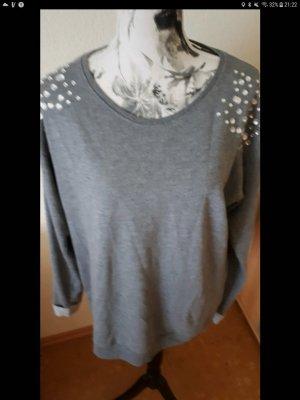 Graues Sweatshirt mit Glitzersteinen