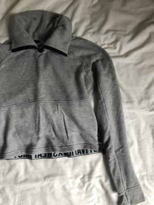 Graues Sweatshirt Sport Oberteil sweat kurz grau Schrift cropped