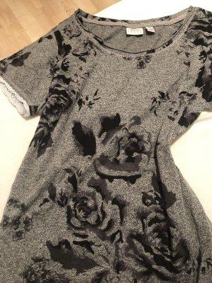 Graues T-Shirt mir Rosenprint & Spitze