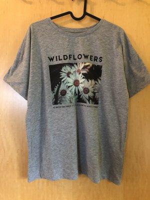 Graues T- Shirt mit Blumen Aufdruck