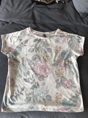 Graues T-Shirt mit Blumenmuster