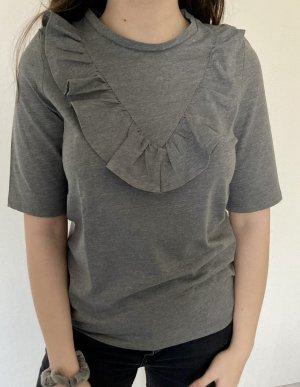 Graues T-Shirt mit Rüschen