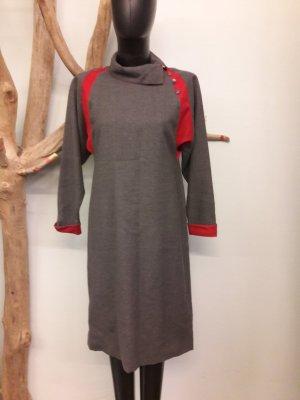 Robe mi-longue argenté-rouge