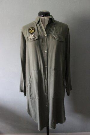 Abito blusa camicia grigio-verde-cachi