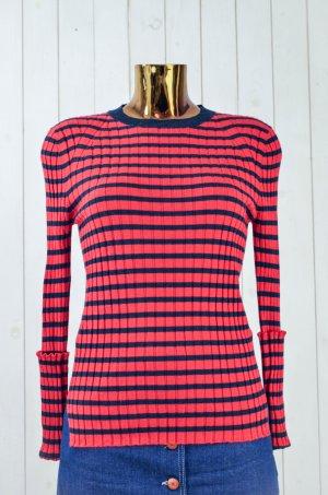 GRAUMANN Damen Pullover Strickpullover Strick Rot Blau Gestreift Wolle Gr.M