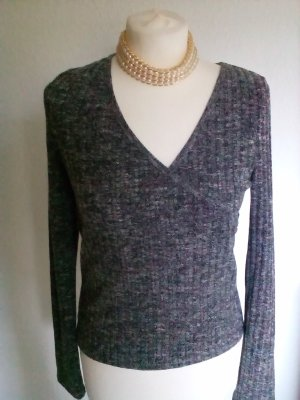 Graumelierter Feinstrick-Pullover