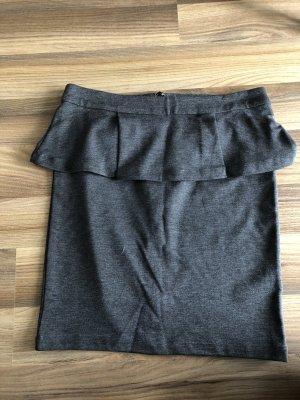 graumelierter Jerseyrock mit Schößchen von MINIMUM