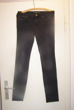 Zara Dopasowane jeansy czarny Bawełna