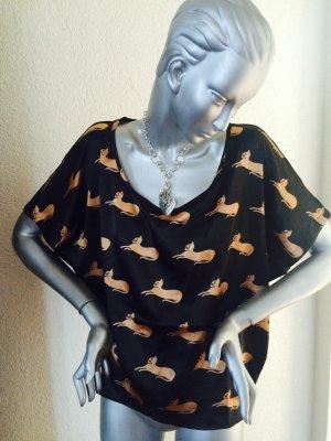 Great Plains London Bluse mit Katzenmotiven schwarz / bronze Gr. M