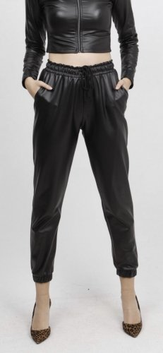 100% Fashion Pantalon en cuir noir