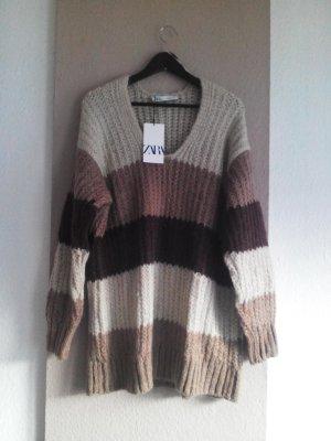 grob gestrickter langer Pullover in braunfarben, Grösse L, neu