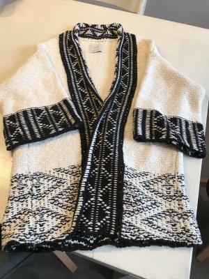 Zara Cárdigan de punto grueso negro-blanco puro Algodón