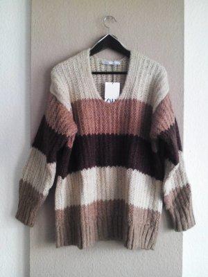 grobgestrickter langer Pullover in braunfarben, Grösse L, neu