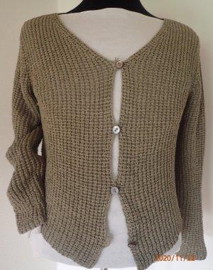 Tandem Veste tricotée en grosses mailles gris vert soie