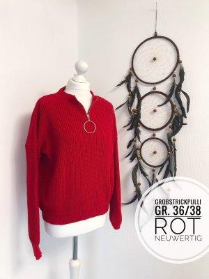 Grobstrick Pulli strickpulli Pullover Oberteil rot blogger vintage 36 38