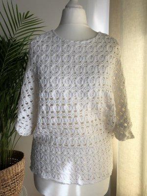 Zara Jersey de manga corta blanco-blanco puro